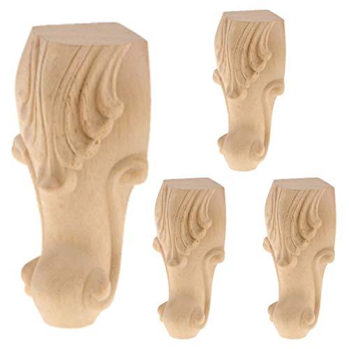 Leiasnow 家具脚 4個セット 木製 猫脚 たかさ調節 テーブル脚 ソファー脚 家具パーツ 家具足 ヨーロッパ風 (12*6*6cm)