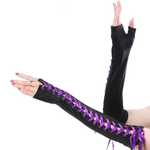 SimpleLife Mujeres Guantes sin Dedos Cinta de Cuerda Criss Cross Lace Up Disco Dance Estilo gótico Cosplay Mitones Longitud del Codo