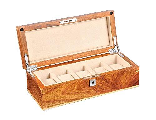 Caja de Reloj de Madera de 5 Rejillas, Cajas de Almacenamiento de Caja de Reloj, Bandeja de Pulsera de exhibición con Revestimiento de Franela