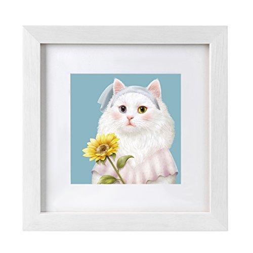 BOJIN Bilderrahmen, 35,6 x 35,6 cm, 20,3 x 20,3 cm, mit quadratischem Holz-Bilderrahmen, Posterrahmen zum Aufhängen an der Wand, Heimdekoration, Weiß