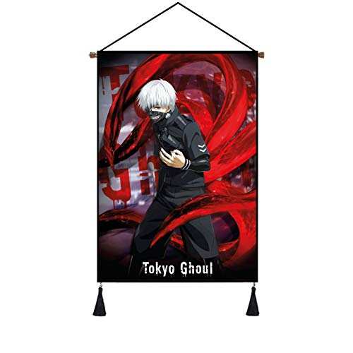 Premium Vibrant Color Hanging Poster Canvas Wall Art, Tokyo Ghoul Kaneki Ken Tapestry Plush Scroll With Tassels, Decoration For Home, Dorm , Office & Comic Exhibition(16''Wx24''H)