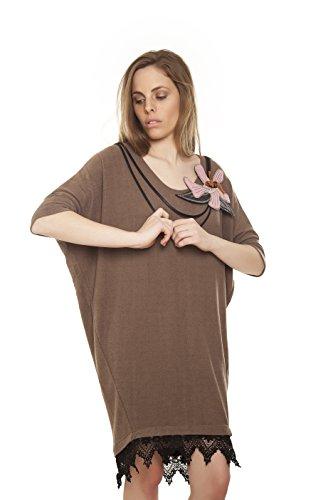 Mamatayoe Damen Kleid, Casual Popea, Grau (Topo), Large