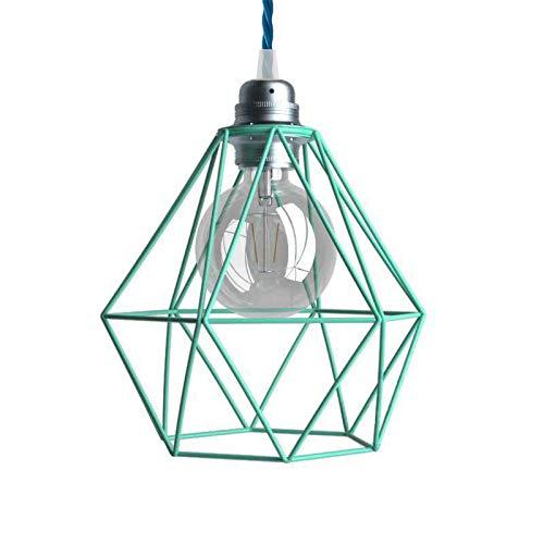 Lámpara Colgante Cable Textil y Pantalla Jaula Diamond en Metal - con Bombilla, Turquesa