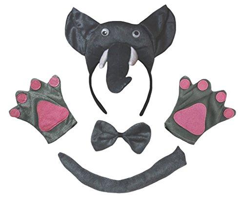 Petitebelle Guantes de la cola del elefante 3D diadema Bowtie nios Disfraz de 4 piezas Un tamao gris