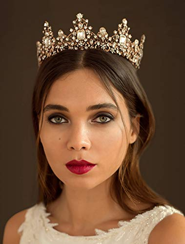 SWEETV Jeweled Baroque Queen Crown - Rhinestone Wedding Tiaras and Crowns for Women, Bronze Costume Hair Accessories for Cosplay Birthday Party