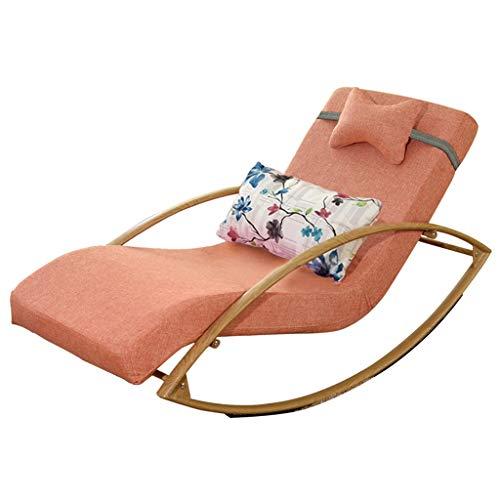 HTPOW-M Household Wood Grain Single Rocking Chair, Detachable Washable Zipper Pad Rest Lazy Lounge Chair 1123-YY (Color : Orange, Size : A(Sponge))