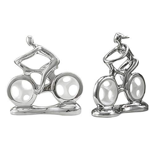 N/A/a 2pcs Home Office Decoración de Figuras Parejas Bicicletas Escultura Adorno