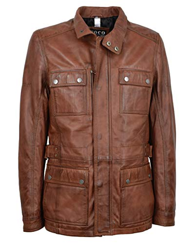 Lange Herren Lederjacke - M/65 Fieldjacket - echtes Leder - Military - Safari Style, Größe:52, Farbe:Mokka Braun