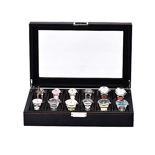 Suytan Caja de Reloj Fibra de Carbono Cuero de la Pu Caja de Alenamiento de 12 Relojes Cubierta de Vidrio Caja de Reloj Caja de Alenamiento de Pantalla de Reloj para Hombres Caja de Reloj,Fibra de Ca