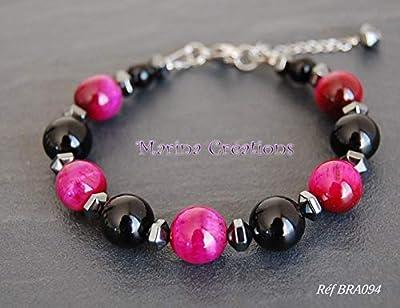 Bracelet onyx, oeil de tigre rose fuchsia et hématites, grosses pierres BRA094
