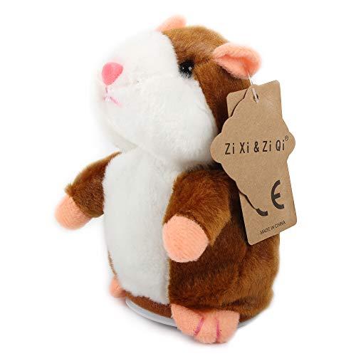 Hablando Hamster de Peluche de Juguete, Repite lo Que digas Juguetes Divertidos para niños, Peluches de Registro de Peluche interactivos para el Día de San Valentín (Hámster parlante Marrón)
