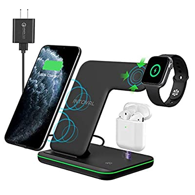 Intoval Wireless Charger, True 3 in 1 for Apple iPhone/iWatch/Airpods, Qi-Certified Charging Station for iPhone 12/11/Pro/Max/XS/Max/XR/XS/X, iWatch 6/SE/5/4/3/2, Airpods Pro/2/1 (Black) from Intoval