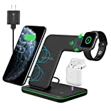 Intoval Wireless Charger, True 3 in 1 for Apple iPhone/iWatch/Airpods, Qi-Certified Charging Station for iPhone 12/11/Pro/Max/XS/Max/XR/XS/X, iWatch 6/SE/5/4/3/2, Airpods Pro/2/1 (Z5,Black)