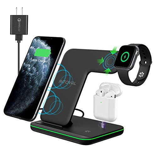 Intoval Wireless Charger, True 3 in 1 for Apple iPhone/iWatch/Airpods, Qi-Certified Charging Station for iPhone 12/11/Pro/Max/XS/Max/XR/XS/X, iWatch 6/SE/5/4/3/2, Airpods Pro/2/1 (Black)