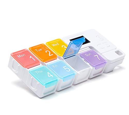 Weiqiao® - Pastillero semanal de plástico con 7 compartimentos, caja Timing portátil, almacenamiento multifuncional para viaje medicamentos