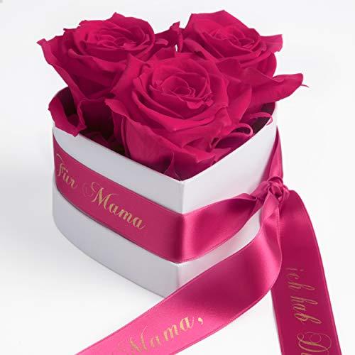ROSEMARIE SCHULZ Heidelberg Rosenbox Herzform Geschenk zum Muttertag Blumen 3 Infinity Rosen (Pink, 3 Rosen Mama, ich hab Dich lieb)