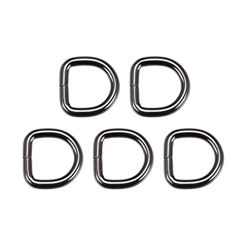 DyniLao 5pcs Metal D-Ring 0.8'(20mm) D-Rings Hardware Buckle Bags Belts DIY Crafts Accessories Black