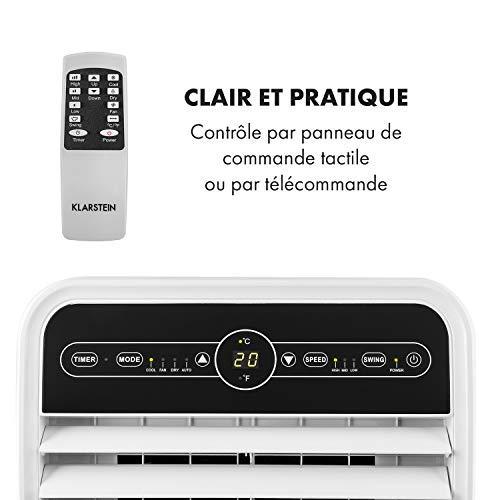 KLARSTEIN Metrobreeze New York 7k - Climatiseur Mobile, Système d'auto-évaporation, Affichage LED, Minuterie de 24H, Ventilateur, Déshumidification, Matériel d'isolation, Tuyau d'évacuation, Blanc