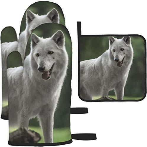 MODORSAN Alaska Tundra Wolf - Juego de 3 Manoplas y Porta ollas para Horno, para Cocina, cocinar, Hornear, Barbacoa
