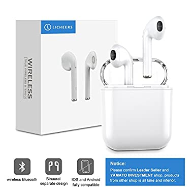 Bluetooth Headphones, licheers Mini Wireless Sports Earphone/Stereo-Ear Sweatproof Earphones with Noise Cancelling and Charging Case Fit for iPhone X/8/7/6/6s plus Samsung Galaxy S8, S8 Plus