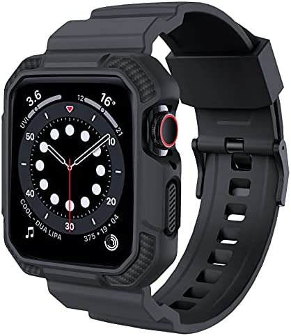 OROBAY Compatible with Apple Watch Band 44mm 42mm with Case, Shockproof Rugged Band Strap for iWatch SE Series 6 5 4 3 2 1 44mm 42mm with Protective Bumper Case Cover Men Women, Dark Gray