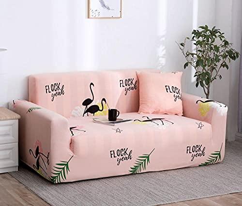 Funda Sofa 4 Plazas Chaise Longue Cisne Negro Rosa Fundas para Sofa ,Cubre Sofa Ajustables,Fundas Sofa Elasticas,Funda de Sofa Chaise Longue,Protector Cubierta para Sofá