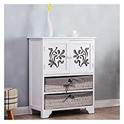This lovely sideboard/drawer chest is crafted from natural Paulownia wood with cute fabric lined wicker baskets. Features 1 cupboard with beautiful floral pattern carved doors, and 2 wicker baskets for storage. Size: W 60 cm (23.6 in) x D 30 cm (11.8...