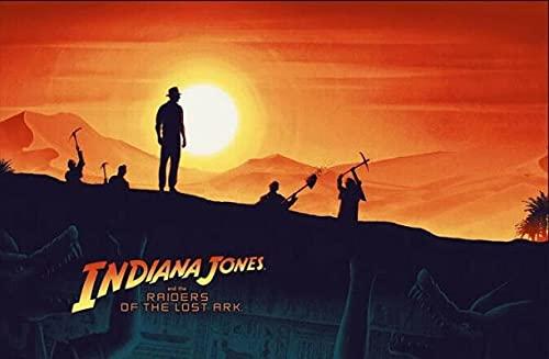 LaJiTong Lienzo Mural Pared Pintura de Pared Decorativa del Cartel del Arte de Indiana Jones de la película clásica 60x90cm