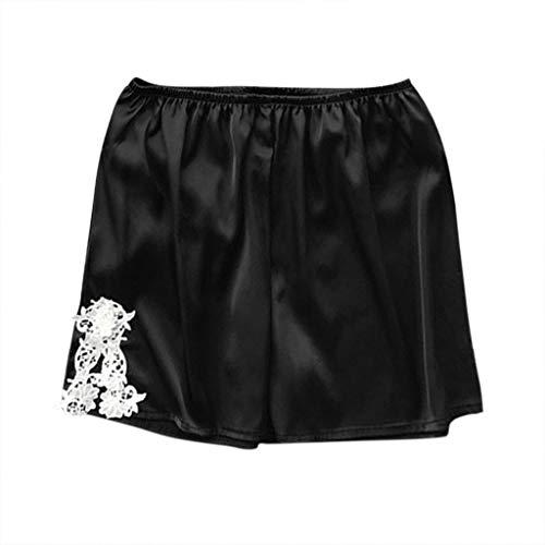 LEXUPE Short Femmes, Mode Été Hot Pantalons Femmes Dentelle Grande Taille Corde Attacher Shorts de Yoga Pantalons de Sport Jambières S-5XL (Large, W-Noir)
