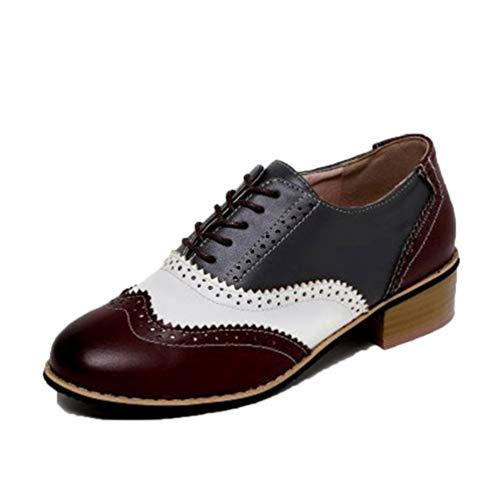 Zapatos Brogue para Mujer Color Mixto Transpirable Vintage Informal Puntiagudo con Cordones Oxfords Zapatos Derby de Cuero para Trabajo de Oficina para Mujer