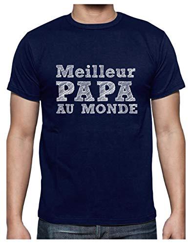 Cadeau Fête des Pères - Meilleur Papa Au Monde T-Shirt Homme Large Marine