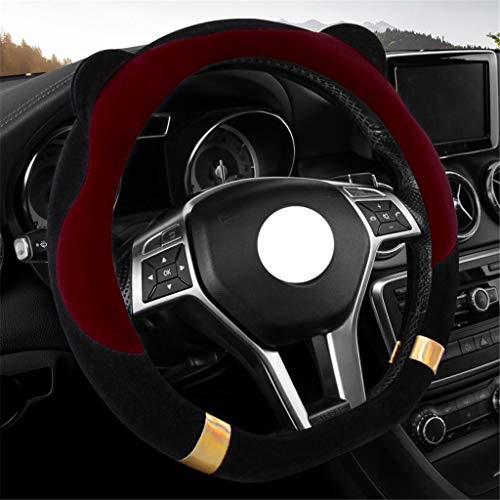 Couverture de volant de voiture Couvre volant - Poignée universelle pour femme 38cm Couvre-volant en laine douce et chaude antidérapante/résistante à l'usure (Couleur : C-38cm/14.96inch)