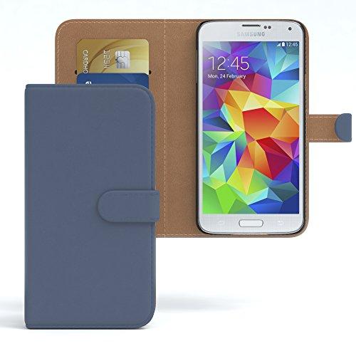 EAZY CASE Tasche für Samsung Galaxy S5/LTE+/Duos/Neo Schutzhülle mit Standfunktion Klapphülle Bookstyle, Handytasche Handyhülle Flip Cover mit Magnetverschluss & Kartenfach, Kunstleder, Dunkelblau