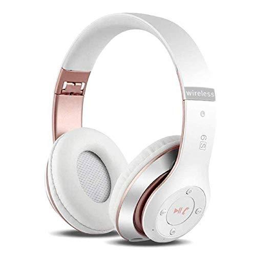 6S Over-ear Wireless Cuffie, Cuffie Wireless Bluetooth Cuffie Wireless Stereo Pieghevoli ad Alta Fedeltà, Microfono Incorporato, Micro SD/TF, FM (per iPhone/Samsung/iPad/PC) (Oro rosa bianco)