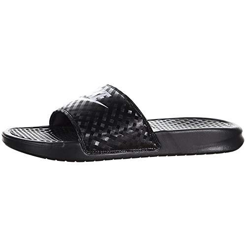 Nike Women's Benassi Just Do It Sandal, Black/White, 8 Regular US