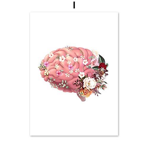 Cerebro corazón anatomía vintage arte de la pared lienzo pintura nórdica carteles e impresiones salón decoración pintura pared cuadros