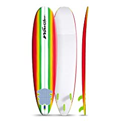 Soft Foam Construction Classic Surfboard, strong EPS core with 3 stringer system Soft WBS-IXL ( Water Barrier Skin ) crosslink top deck and rails  High Density (HDPE) Polyethylene slick bottom skin Exclusive New Rasta Burst White Color Graphic art de...
