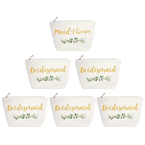 ElegantPark Bridesmaid Gifts Set of 6 Maid of Honor Gift Bridesmaid Makeup Bag Wedding Party Cosmetic Bag Bridal Shower Gifts Canvas Gold Script