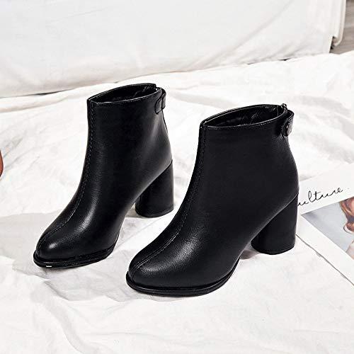 Shukun enkellaarsjes laarzen Martin laarzen Women'S dikke hak met 7Cm korte buis straat mode