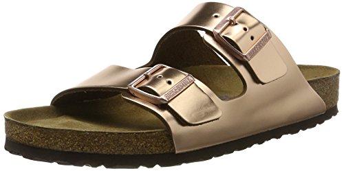 Birkenstock Classic Damen Arizona Leder Softfootbed Pantoletten, Braun (Metallic Copper), 39 EU