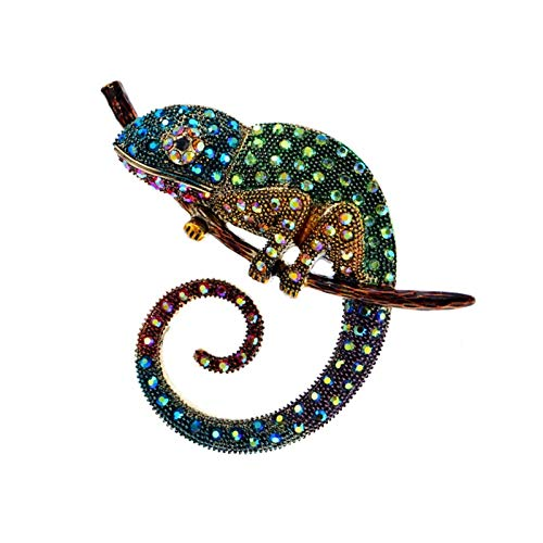 QYTSTORE Big Lizard Chameleon Brooch, Size: 6.0cm * 7.8cm, Animal Coat Pin, Rhinestone Fashion Jewelry Enamel Accessories 3 Colors To Choose Elegant and romantic brooch (Color : Green)