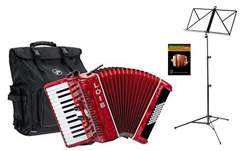 Loib Starter II 48 RD Einsteiger Akkordeon Set (Einsteiger Akkordeon mit 48-Bässen inkl. Riemen, Rucksack-Tasche, Notenständer & Akkordeon Schule) Rot