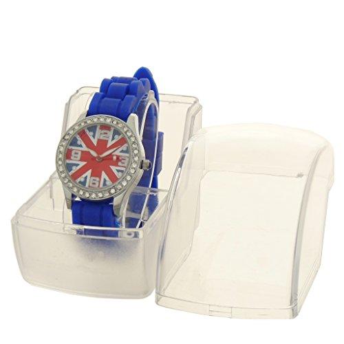 Gift Ideas–Kinder-Armbanduhr Analog Armband Silikon Blau–Zifferblatt rund Boden Flagge Union Jack–Marke Geschenk Konzept–ref: bt-unkd-bleu