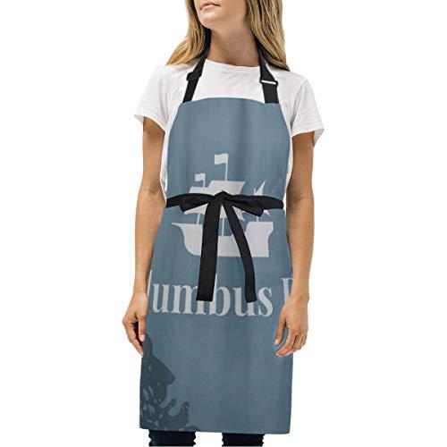 VICAFUCI Delantal,Día de Colón Océano Atlántico,Babero de Cocina Unisex con Cuello Ajustable para cocinar jardinería,tamaño Adulto