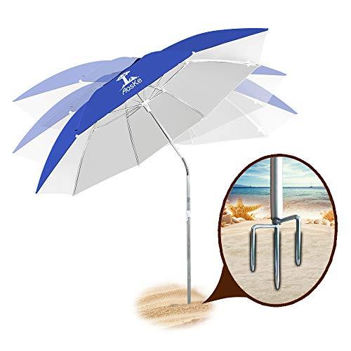 AosKe Patio Umbrella Beach Umbrella Sports Umbrella Portable Sun Shade Umbrella Inclined Heat Insulation Antiultraviolet SPF 50+ Royal Blue
