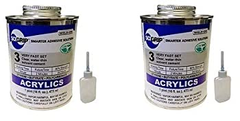 IPS Weld-On 3 Acrylic Plastic Cement with Pint and Weld-On Applicator Bottle with Needle Clear  Тwо Расk