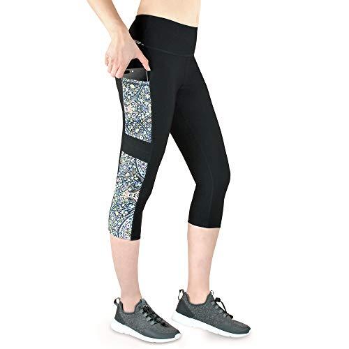 VS Fitnesshose Yoga Leggings mit Handytasche - 3 Seitentaschen 3 4 Leggins Tasche für Handy Schlüssel Fitness Sport Tights Schwarz Bunt Hose Sporthose Jogging High Waist.spiritone -XS