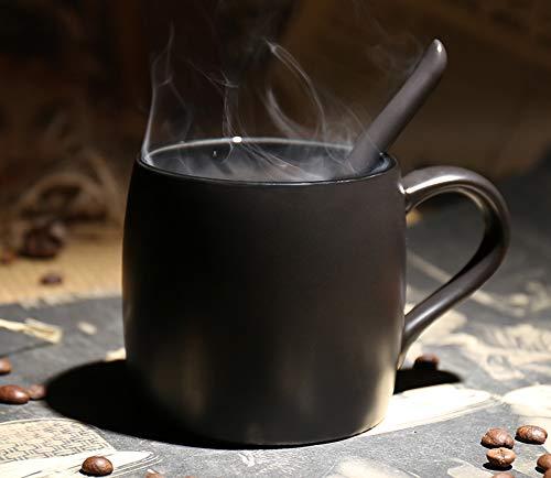 Aida Bz Europäischer Kaffee Bereifte Becher Mit Löffel-Schwarz-Kaffeetasse Mit Niedrigem Kreativem Keramischem Wasser-Basisbecher,Black