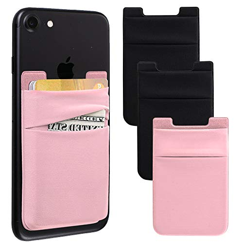 Phone Card Holder for Back of Phone, Stretchy Lycra Wallet Stick On Pocket Credit Card ID Case Pouch Sleeve 3M Adhesive Sticker Compatible with iPhone Samsung Galaxy and More 3Pack - Pink/Black