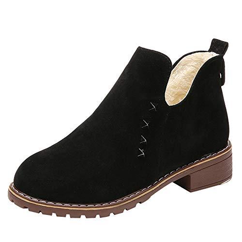 Vovotrade Chelsea Boots Dames Ankle laarzen korte schacht klinknagels plat suède leer met hak korte winter laarzen sneeuwlaarzen zwart, groen, bruin EU 36-39